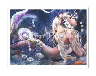Pretty Mermaid art,9x12 Photo Print
