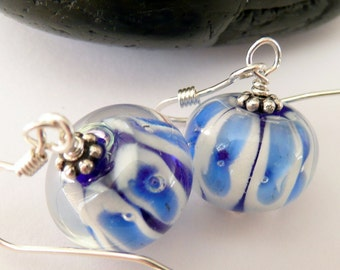 Handcrafted Artisan Blue White Stripped Bubble Glass Sterling Silver OOAK Hippie Boho Gift for Her Fun Funky Summer Earrings
