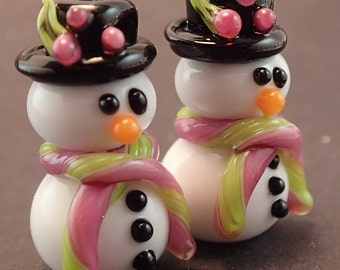 Top Hat Pink and Lime Holly Snowmen Pair