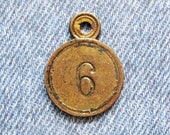 Brass Number Tag Room 6 Skeleton Key Fob Antique Retro Motel Hotel Industrial Metal Painted Numbered Id Repurpose Hardware