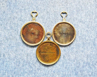Metal Industrial Monocle Optical Lens Lot [3] Antique French & German Victorian Lenses Steampunk Jewelry Necklace Pendant Costume Props