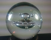 Vintage Clear Art Glass Bubble Paperweight Modernist Atomic