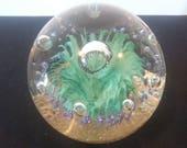 Vintage Scottish Thistle Flower Art Glass Paperweight Huge