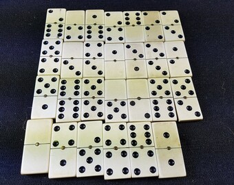 Vintage Bakelite Dominoes Set in Original Wooden Slide Box with 27 Domino Tiles