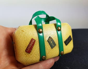 Vintage Miniature Travel Suitcase Luggage Bag with Luggage Tags Manicure Set 1940's
