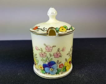 Vintage English Ceramic Pottery Mustard or Jam Pot Jar 1930's