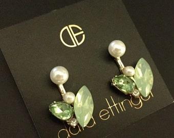 Dara Ettinger Crystal and metal leaf jacket earrings