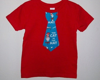 Boys Shirt with Tie, Boys T shirt, Tie Applique, Tie T Shirt, Applique Tie, Tie Tee, Boys Tee, Dr Seuss T Shirt, Cat in the Hat