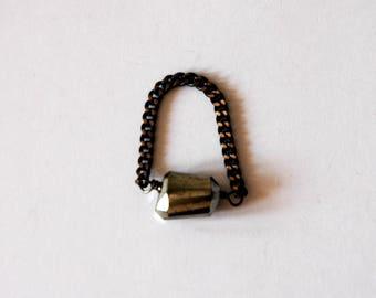 Modern Style Ring Faceted  Pyrite Gemstone Nugget Gemstone Oxidized Bronze Chain