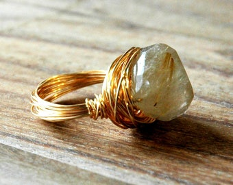 Gold Wire Wrap Ring / Gold Nest Ring / Gold Wire Ring with Quartz Gemstone / Gold Wire Wrapped Ring with Rutilated Quartz Gemstone Pendant