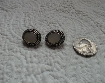 Pair of Vintage Artisan Made Sterling Silver and Mother of Pearl Pierced Earrings