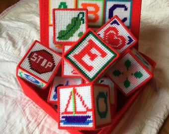 vintage needlepoint plastic canvas baby toy set building blocks alphabet letters   school collectible red rainbow square box scandinavian