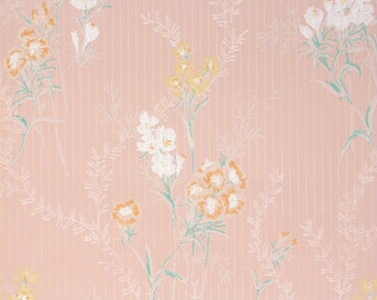1930s Vintage Wallpaper by the Yard - Antique Wallpaper White Orange and Yellow Flowers on Pink