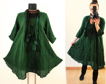 Dark Green FLOATY CRINKLE DRESS with matching Scarf us Plus Size 14 16 18 20 1X 2X Gypsy Gothic Hippie Lagenlook Linen Spring Summer