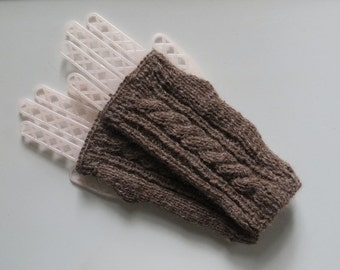 Alpaca Fingerless Gloves, Dark Gray Gloves, Hand Knit with Cable Pattern