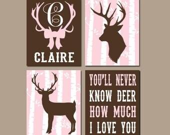 GIRL DEER Nursery Wall Art, CANVAS or Prints, Woodland Theme, Rustic Baby Girl Nursery Quote, Antler Bows, Pink Brown Monogram, Set of 4