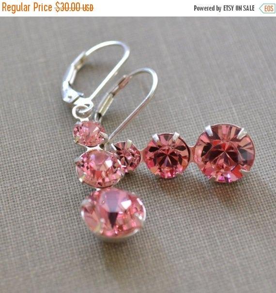40% OFF Pink Swarovski Earrings, Chandelier Sterling Silver, Pink Crystal Lever Back Earrings, Bridesmaids Earrings