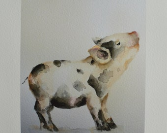 Baby Pig PRINT 5x7 from original watercolor painting farm animal nursery decor piglet