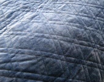 Quilted Velvet Fabric Upholstery Home Decor Aegean Blue