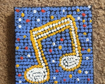 "Dot Pointillist, Music, Notes 6""x6"" canvas, pointillist, pointallism artwork, dot artwork, unframed, original"
