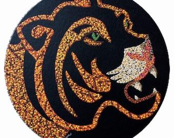 "Tiger Acrylic 12"" round on black canvas board. Orange black brown white tan"