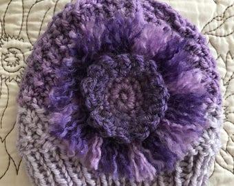 Purple Newborn Infant Spring Flower Beanie Baby Hat Sweet Baby Girl Bonnet Photography Prop