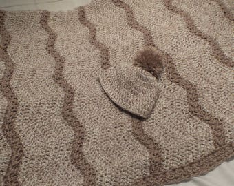 Crochet baby blanket afghan, crochet infant hat Brown Tan baby crochet throw