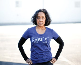RESIST graphic tee - Womens Climate Change Awareness T-Shirt in Indigo - Science March shirt - periodic table - protest tee for her