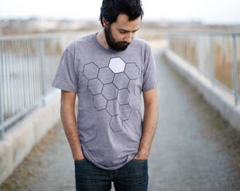 The Beekeeper - Men's t shirt - gift for him - mens graphic tee - geometric honeycomb - beehive print on heather gray - nature lover shirt