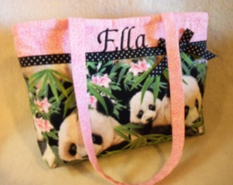 Giant Panda Asian girls purse gift tiny tot tote bag youth girls handbag add name so cute great monogram Birthday gift so cute add name