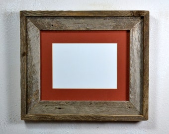 Eco friendly reclaimed wood picture frame with 5x7,4x6 or 8x6 mat 20 mat colors too choose from 8x10 without mat  free shipping