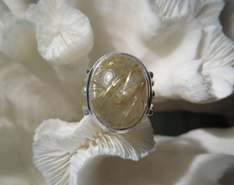 Golden Rutile Agate Ring Size 6.5