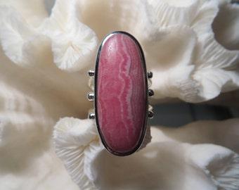Beautiful Pink Rhodochrosite Ring Size 9.25