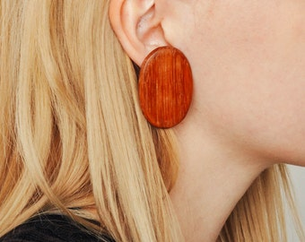 Vintage Oval Wood Earrings