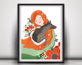 Wolf Illustration, Wolf Print, Ginger Pride Art, Freckles, Girl Illustration, Girl Print, Strong Woman Art Print, Animal Totem Art