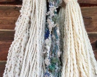 Handspun yarn bundle, FREE PATTERN BOOK, all natural, variery bundle, mix n mathch, yarn stash, be creatve