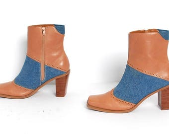 size 7.5 PATCHWORK tan leather 90s BLUE DENIM zip up ankle boots