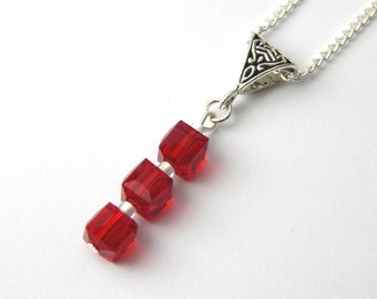 Red Crystal Cube Necklace - Bright Red Crystal - Red & White Crystal Cube Necklace - Red Crystal Pendant - Faceted Cube Pendant