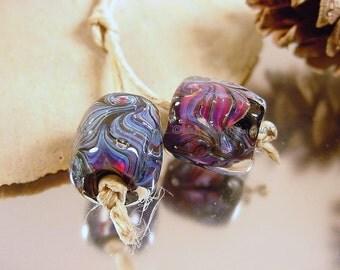 Handmade lampwork glass bead pair, Artisan glass beads, Blue beads, pink beads, purple beads, black beads, lampwork earring pair, SRA