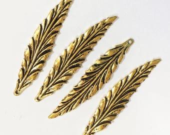 8 pcs of Antique gold finished leaf pendant 55x12mm, Zinc alloy pendant
