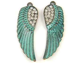 Angel Wing Earring Findings Verdigris Patina Rhinestone Wing Earring Dangles Turquoise Copper Wing Charm or Pendant |GR6-17|2M