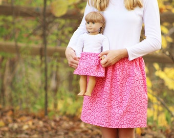 Matching Girl and Doll Clothing fits American Girl Doll - Peppermint Swirl Christmas Twirl Skirts, Many Sizes Available