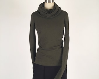 Alena Designs - Nocturnette - Cowl Neck Top Sweater Bamboo Cotton Lycra Heather Forest