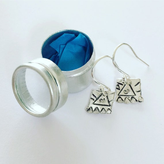 Tiny Folk Art Aztec Sterling Silver Earrings in Aluminum Gift Tin