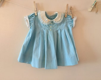Vintage Baby dress Blue with pintucks  Sz 6-9 months