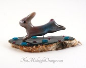 Leaping Rabbit - polymer clay Fine Art figurine - one of a kind collectible sculpture - ready to ship