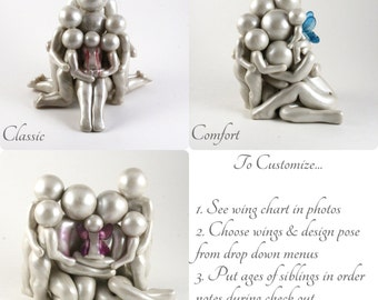 Custom Family of 7 baby memorial sculpture - Choose from 3 poses, Customize wings and Siblings' ages