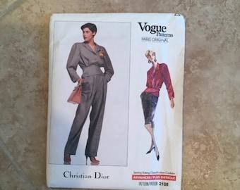 Vogue 2108 Christian Dior Paris Designer Pant Suit Skirt SZ 6-8-10 New Uncut