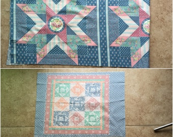 Country Charm Houses Floral Quilters Fabric Remnants Panels