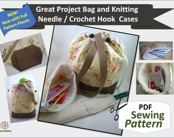2017 Padded Great Project Bag, Needle Case, Needle Sleeve Sewing Pattern PDF. Organizing Knitting, Crochet, Embroidery, Sewing Supplies